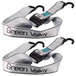 2 Green Valley Cambuckle Tie Downs and Ratchet Strapes (2 metres x 50mm)