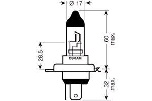 Full Beam - H4 bulbs  Osram STANDARD® H4 Bulb (Single H4 12V 55W Bulb)  Th